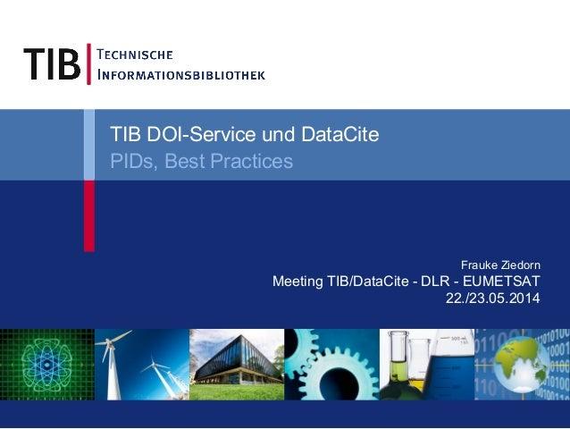 Frauke Ziedorn Meeting TIB/DataCite - DLR - EUMETSAT 22./23.05.2014 TIB DOI-Service und DataCite PIDs, Best Practices