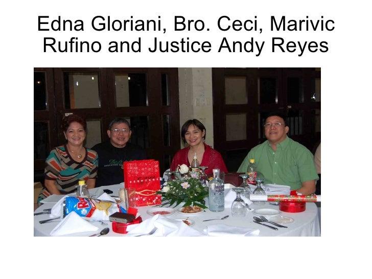 Edna Gloriani, Bro. Ceci, Marivic Rufino and Justice Andy Reyes