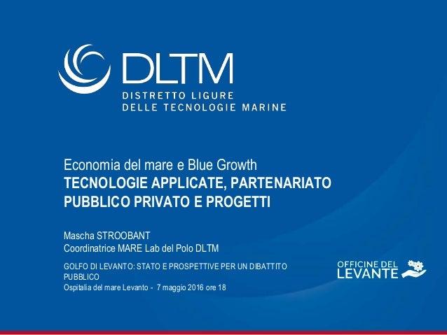 Economia del mare e Blue Growth TECNOLOGIE APPLICATE, PARTENARIATO PUBBLICO PRIVATO E PROGETTI Mascha STROOBANT Coordinatr...