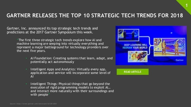 GARTNER RELEASES THE TOP 10 STRATEGIC TECH TRENDS FOR 2018 Gartner, Inc. announced its top strategic tech trends and predi...