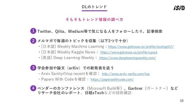 10 DLのトレンド そもそもトレンド情報の調べ方 Twitter、Qiita、Medium等で気になる人をフォローしたり、記事検索1 メルマガで毎週のトピックを収集(以下3つで十分) ・[日本語] Weekly Machine Learnin...