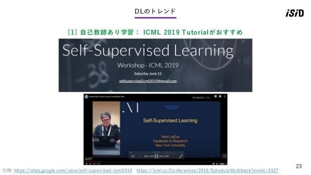 23 DLのトレンド [1] 自己教師あり学習: ICML 2019 Tutorialがおすすめ 引用: https://sites.google.com/view/self-supervised-icml2019 https://icml.c...