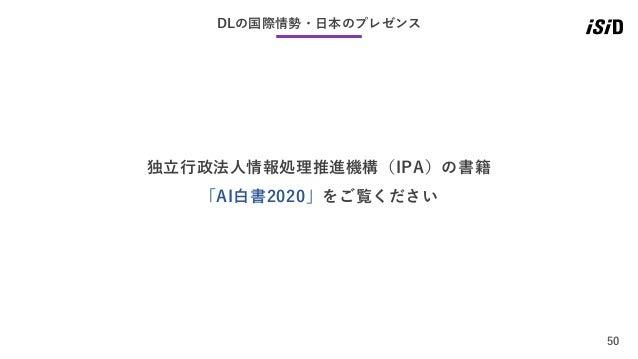 50 DLの国際情勢・日本のプレゼンス 独立行政法人情報処理推進機構(IPA)の書籍 「AI白書2020」をご覧ください