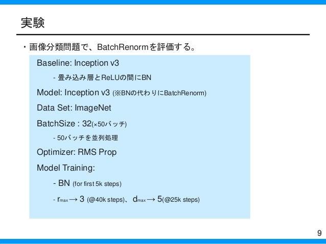 ・画像分類問題で、BatchRenormを評価する。 Baseline: Inception v3 - 畳み込み層とReLUの間にBN Model: Inception v3 (※BNの代わりにBatchRenorm) Data Set: Im...