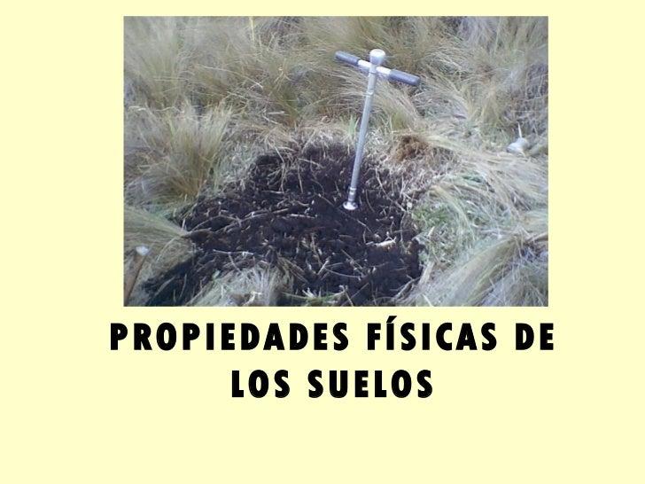 PROPIEDADES FÍSICAS DE       LOS SUELOS