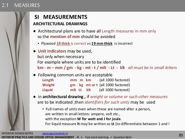 Smaller Measurement 21 MEASURES SI MEASUREMENTS INTERIOR DESIGN NOTES