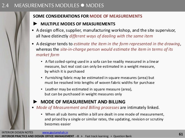 ... MEASUREMENTS; 61. 2.4 MEASUREMENTSMODULES ○ MODES 61 INTERIOR DESIGN ...