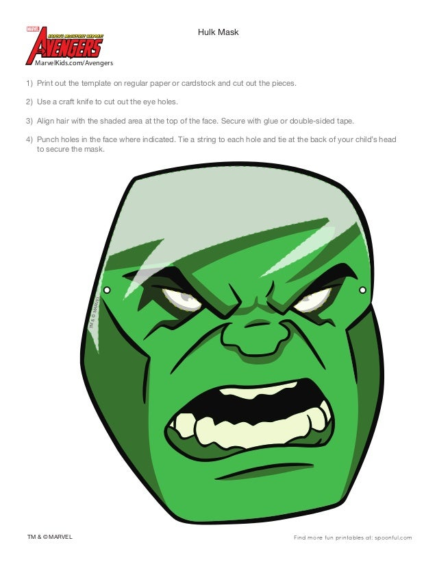 Marvel avengers hulk mask 0910 for Avengers mask template