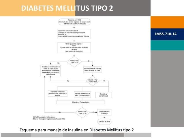 METAS TERAPÉUTICAS DIABETES MELLITUS TIPO 2 IMSS-718-14 Esquema para manejo de insulina en Diabetes Mellitus tipo 2