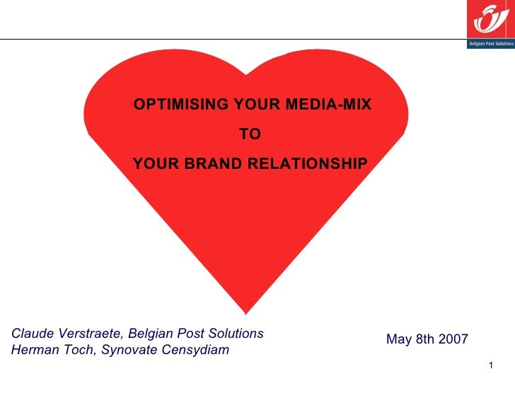 May 8th 2007 Claude Verstraete, Belgian Post Solutions Herman Toch, Synovate Censydiam OPTIMISING YOUR MEDIA-MIX TO  YOUR ...