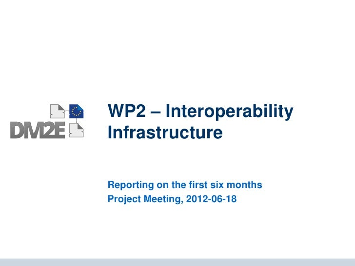 WP2 – InteroperabilityInfrastructureReporting on the first six monthsProject Meeting, 2012-06-18