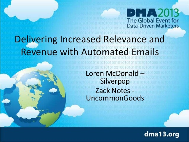 Delivering Increased Relevance and Revenue with Automated Emails Loren McDonald – Silverpop Zack Notes UncommonGoods