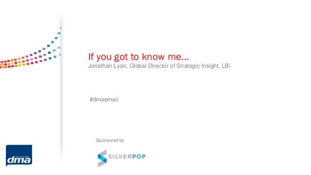 If you got to know me…Jonathan Lyon, Global Director of Strategic Insight, LBi#dmaemailSponsored by