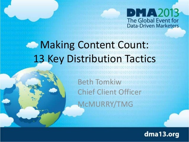 Making Content Count: 13 Key Distribution Tactics Beth Tomkiw Chief Client Officer McMURRY/TMG