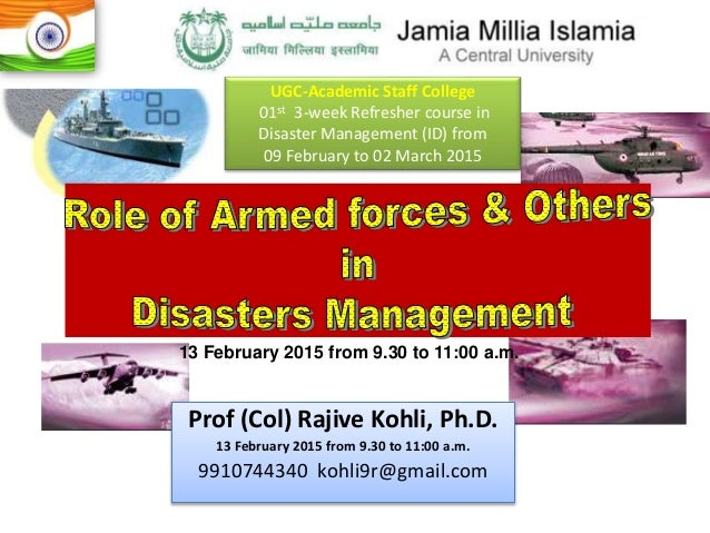 sharing responsibility in disaster management The federalgovernment's role in disaster preparedness is to meet its  ownresponsibilities, create a national response system that  promotescollaborative effort,.