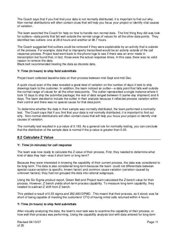 Six Sigma DMAIC Case Study