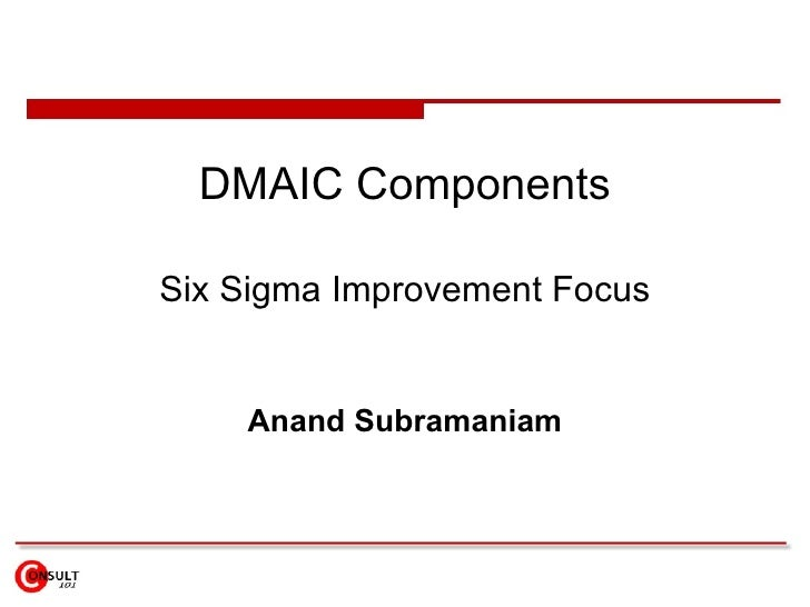 Dmaic components dmaic components six sigma improvement focus anand subramaniam maxwellsz