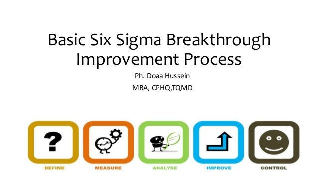 Basic Six Sigma Breakthrough Improvement Process Ph. Doaa Hussein MBA, CPHQ,TQMD
