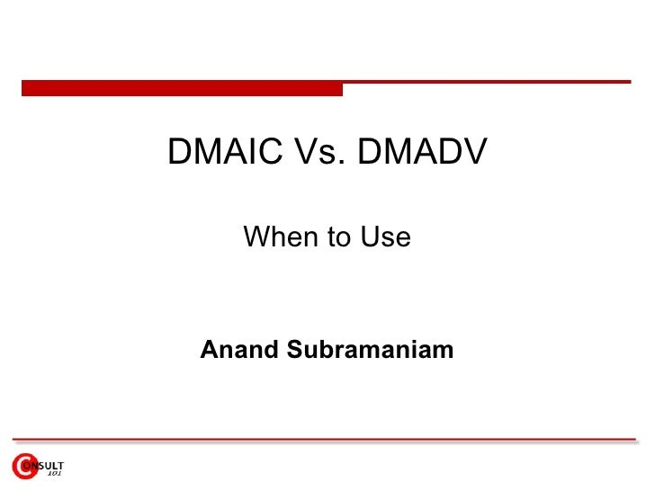 DMAIC Vs. DMADV When to Use Anand Subramaniam