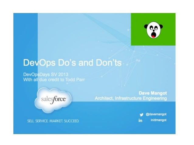 DevOps Do's and Don'ts, DevOpsDays SV 2013