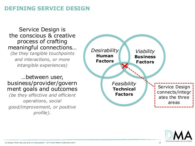 DEFINING SERVICE DESIGN  Service Design is the conscious & creative process of crafting meaningful connections… (be they t...