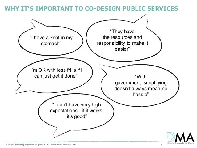 """WHY IT'S IMPORTANT TO CO-DESIGN PUBLIC SERVICES  """"I have a knot in my stomach""""  """"They have the resources and responsibilit..."""