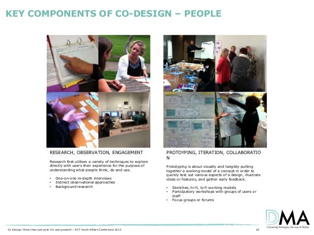 KEY COMPONENTS OF CO-DESIGN – PEOPLE  RESEARCH, OBSERVATION, ENGAGEMENT Research that utilises a variety of techniques to ...