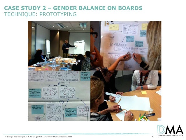 CASE STUDY 2 – GENDER BALANCE ON BOARDS TECHNIQUE: PROTOTYPING  Co-Design: More than just post-it's and goodwill – ACT You...