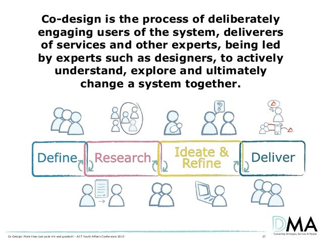 Co-design is the process of deliberately engaging users of the system, deliverers of services and other experts, being led...