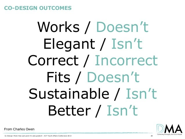 CO-DESIGN OUTCOMES  Works / Doesn't Elegant / Isn't Correct / Incorrect Fits / Doesn't Sustainable / Isn't Better / Isn't ...