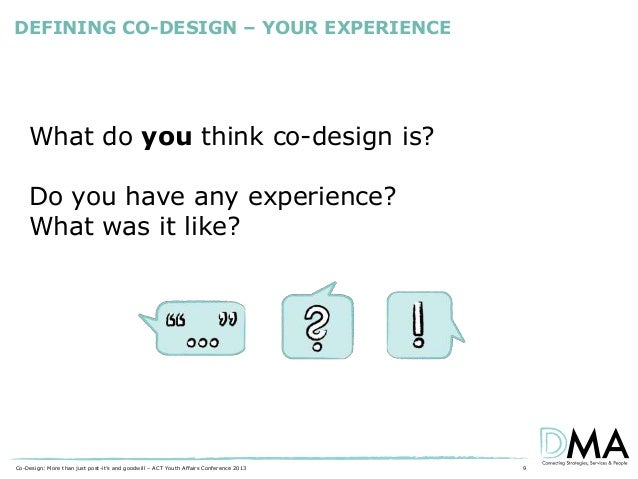 DEFINING CO-DESIGN – YOUR EXPERIENCE  What do you think co-design is? Do you have any experience? What was it like?  Co-De...