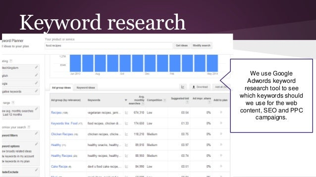 Keyword research We use Google Adwords keyword research tool to see which keywords should we use for the web content, SEO ...