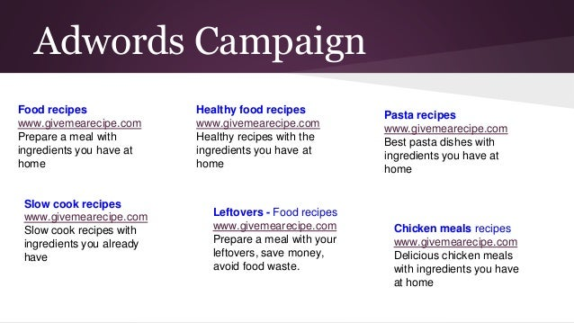 Adwords Campaign Food recipes www.givemearecipe.com Prepare a meal with ingredients you have at home Slow cook recipes www...