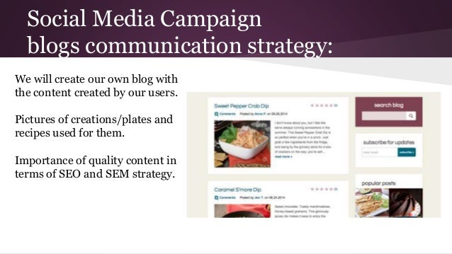 Social Media Campaign blogs communication strategy: We will create our own blog with the content created by our users. Pic...