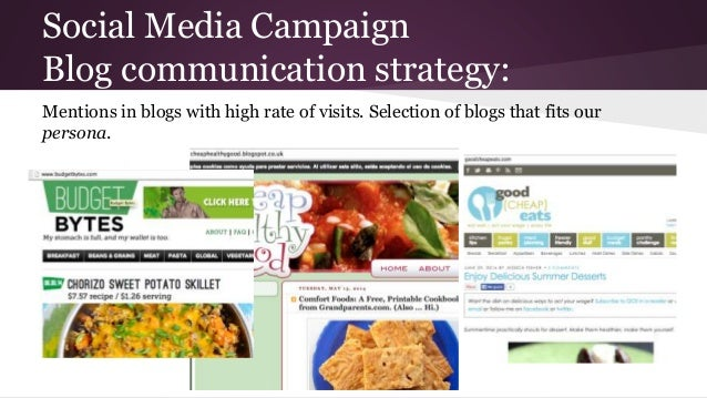 Social Media Campaign Blog communication strategy: Mentions in blogs with high rate of visits. Selection of blogs that fit...