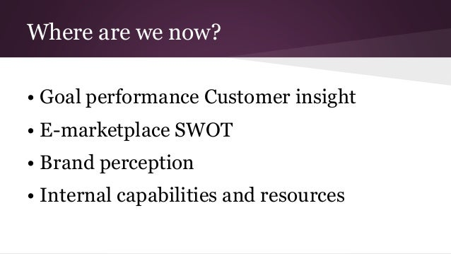 Where are we now? • Goal performance Customer insight • E-marketplace SWOT • Brand perception • Internal capabilities and ...
