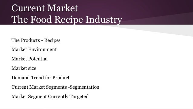Current Market The Food Recipe Industry The Products - Recipes Market Environment Market Potential Market size Demand Tren...