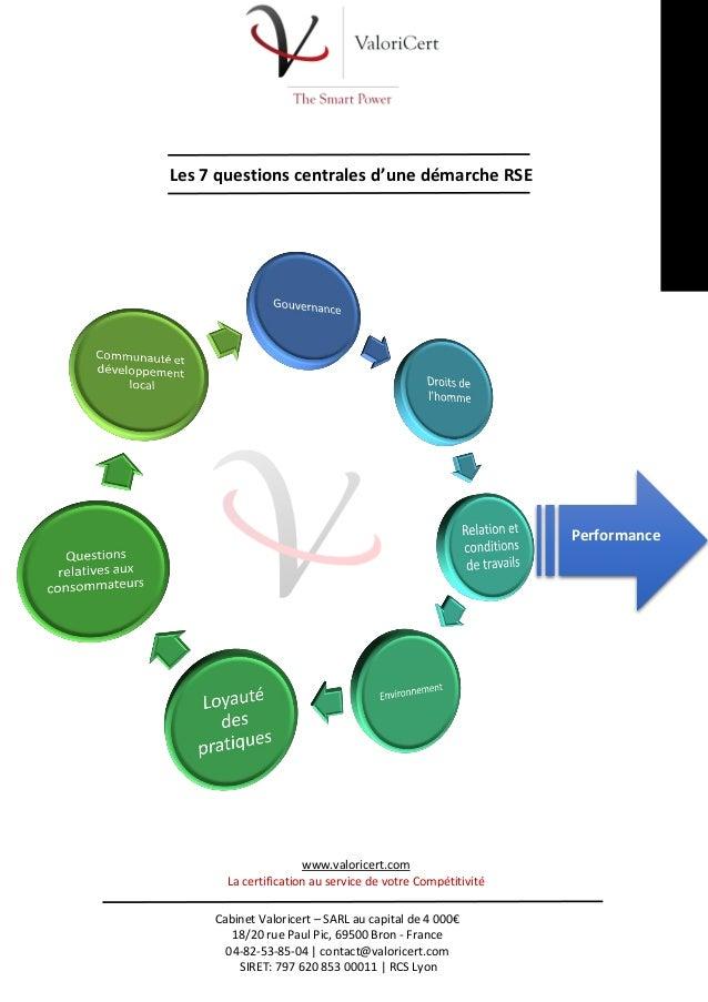 Les 7 questions centrales d'une démarche RSE  Performance  www.valoricert.com La certification au service de votre Compéti...