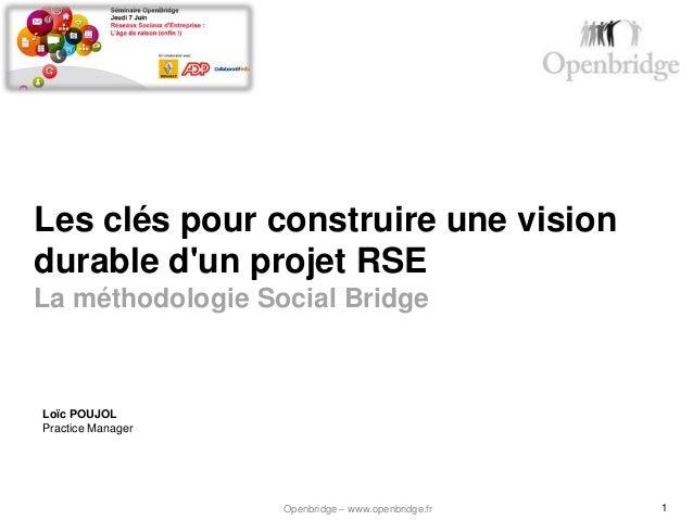 Les clés pour construire une visiondurable dun projet RSELa méthodologie Social BridgeLoïc POUJOLPractice Manager         ...