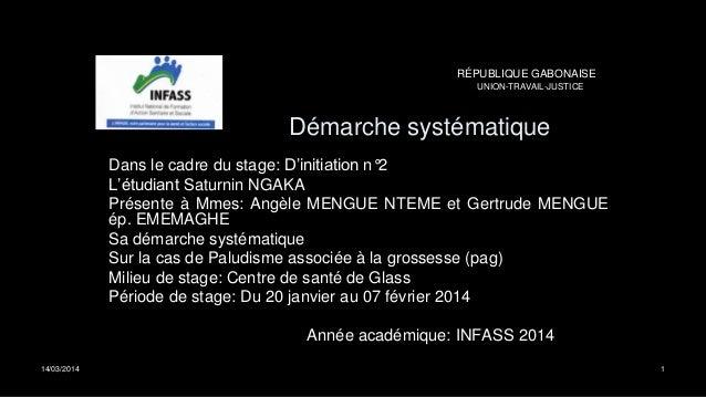 Démarche systématique Dans le cadre du stage: D'initiation n°2 L'étudiant Saturnin NGAKA Présente à Mmes: Angèle MENGUE NT...