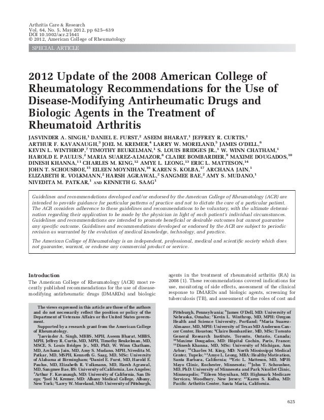 Arthritis Care & ResearchVol. 64, No. 5, May 2012, pp 625– 639DOI 10.1002/acr.21641© 2012, American College of Rheumatolog...