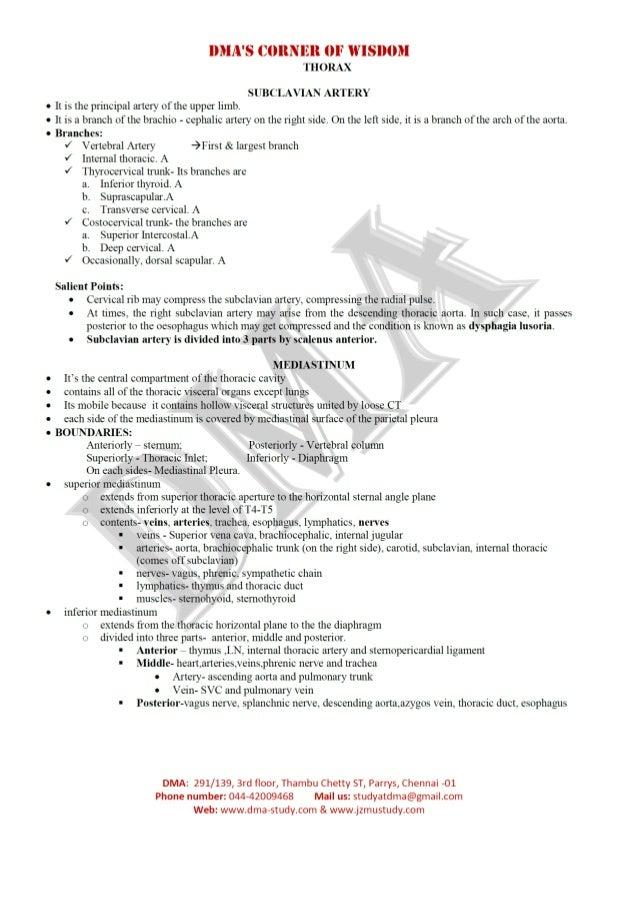 DMA's Anatomy of Thorax in Nutshell Slide 3