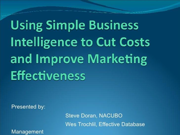 <ul><li>Presented by:  </li></ul><ul><li>Steve Doran, NACUBO </li></ul><ul><li>Wes Trochlil, Effective Database Management...