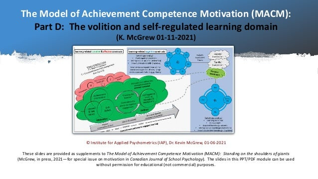 The Model of Achievement Competence Motivation (MACM): Part D: The volition and self-regulated learning domain (K. McGrew ...