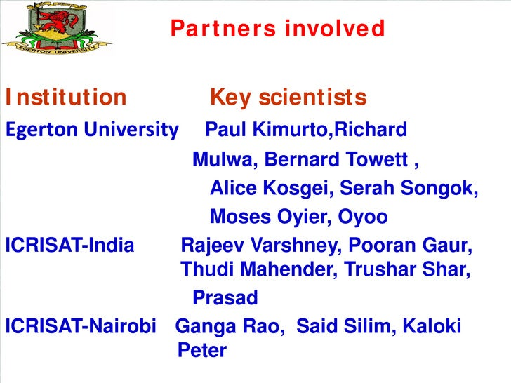 Partners involvedInstitution          Key scientistsEgerton University   Paul Kimurto,Richard                 Mulwa, Berna...