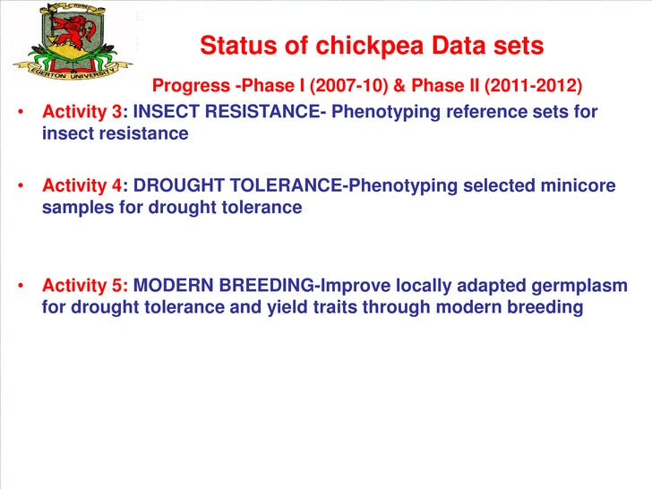 Status of chickpea Data sets                Progress -Phase I (2007-10) & Phase II (2011-2012)• Activity 3: INSECT RESISTA...