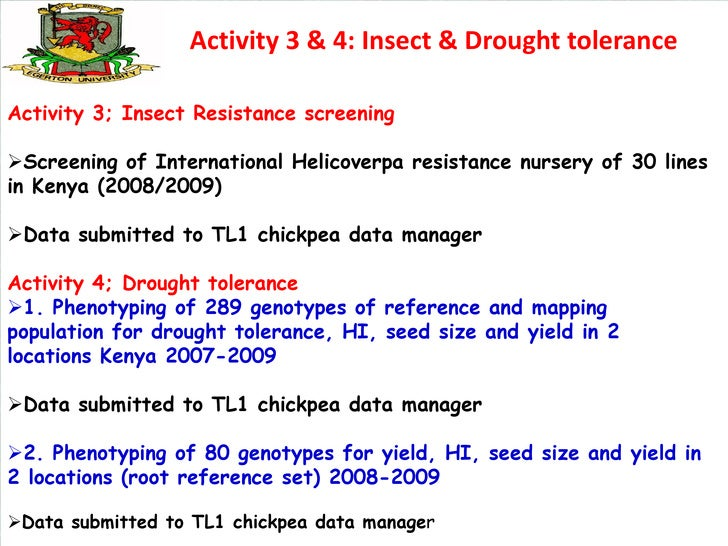 Activity 3 & 4: Insect & Drought toleranceActivity 3; Insect Resistance screeningScreening of International Helicoverpa r...