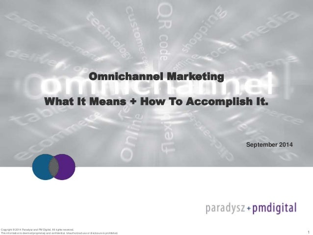 1  Omnichannel Marketing  What It Means + How To Accomplish It.  Copyright © 2014 Paradysz and PM Digital. All rights rese...
