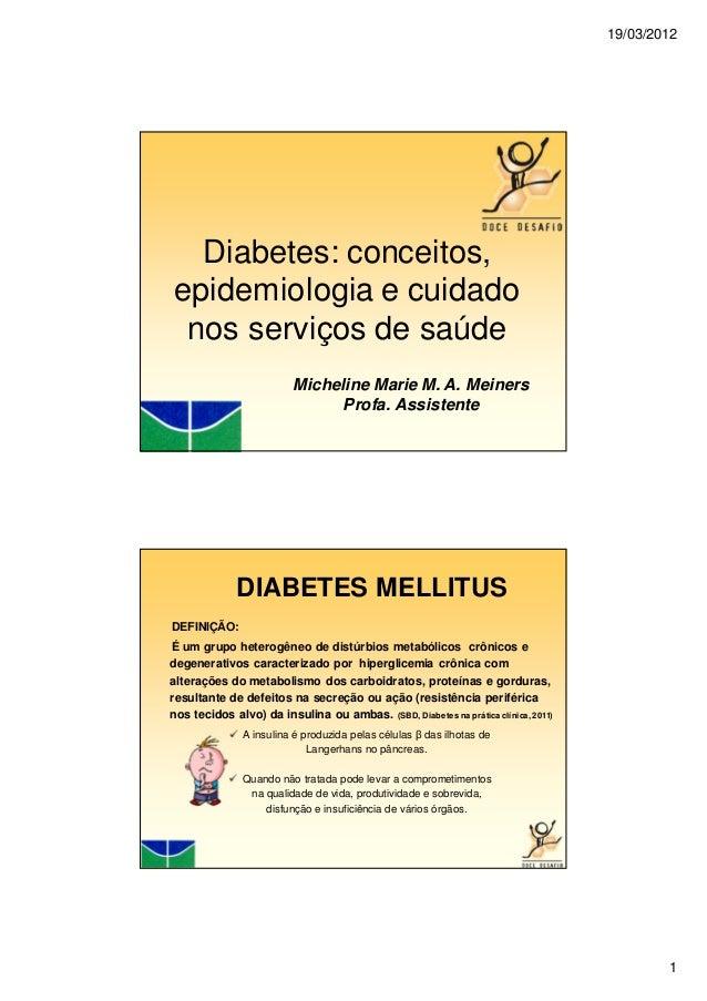 19/03/20121Diabetes: conceitos,epidemiologia e cuidadonos serviços de saúdeMicheline Marie M. A. MeinersProfa. AssistenteD...