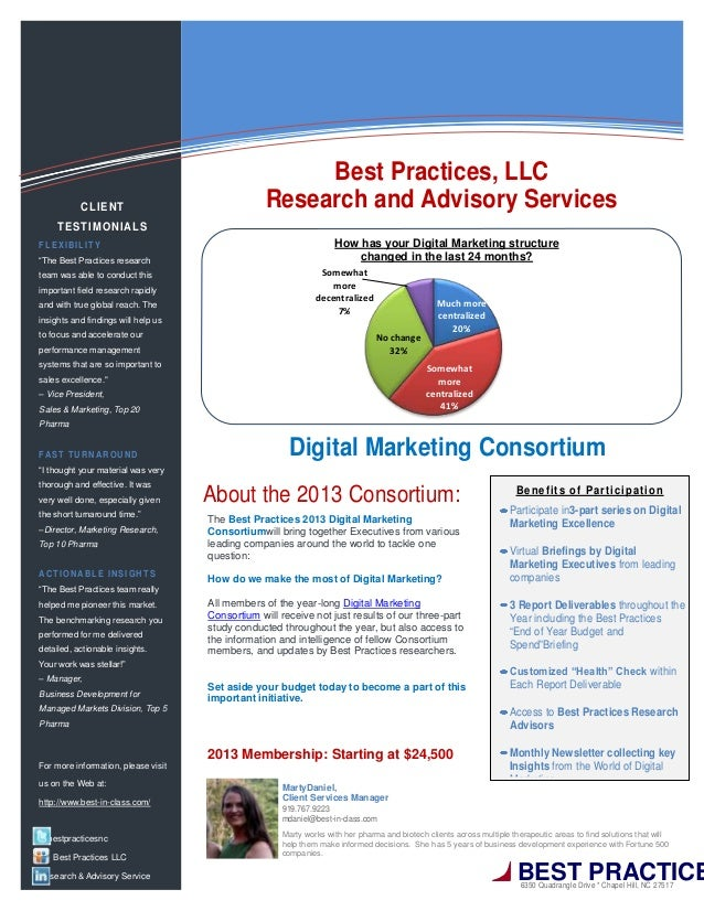 The Best Practices 2013 Digital MarketingConsortiumwill bring together Executives from variousleading companies around the...